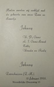 geboortekaartje Johnny Ooms