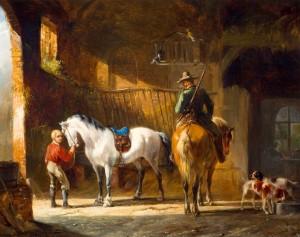 Jagers met paarden op stal
