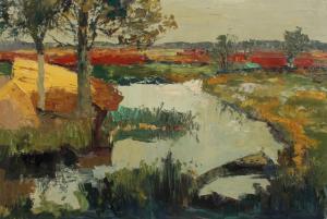 Waterlandschap door Piet Zweers